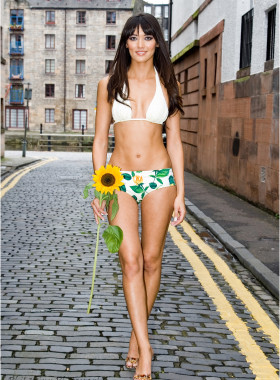 Bikini model with sunflower